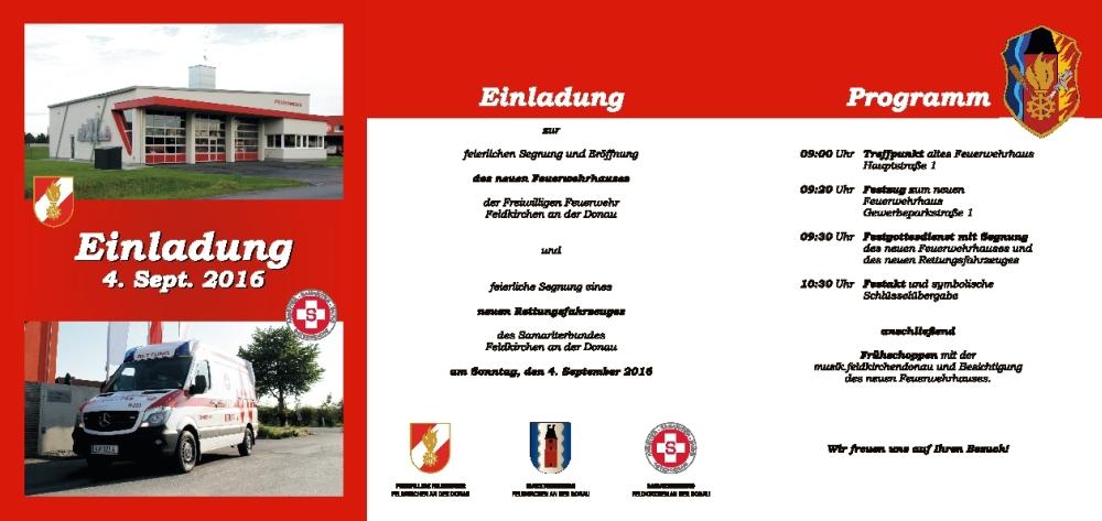 Ankündigung: Segnung und Segnung des Feuerwehrhauses Rettungsfahrzeuges