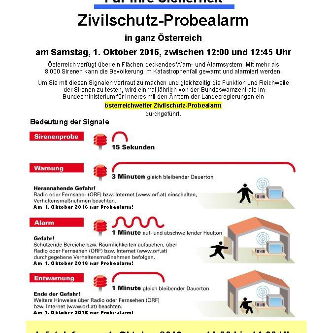 Zivilschutz-Probealarm 2016