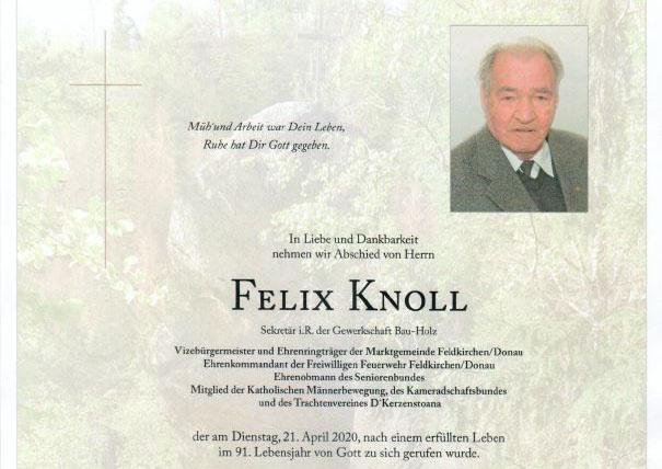 Tiefe Trauer um Felix Knoll – Ein Nachruf