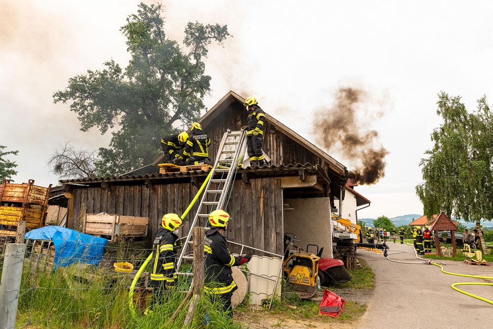 Übungsszenario: Werkstattbrand im Ortsteil Oberhart